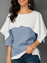Polyester  Women  Round Neck  Flounce  Color Block Plain  Half Sleeve Blouses