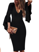 Deep V-Neck  Cutout Flounce Zips  Bust Darts  Plain  Bell Sleeve Bodycon Dresses