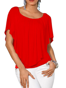 Open Shoulder  Flounce Patchwork  Tiered  Plain  Petal Sleeve Long Sleeve T-Shirts