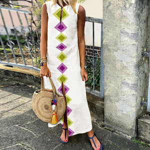 Cotton/Linen V-Neck Bohemian Printed Sleeveless Casual Dress