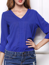 Autumn Spring Summer  Polyester  Women  V-Neck  Plain  Long Sleeve Blouses