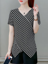 Striped V Neck Short Sleeves T-Shirt