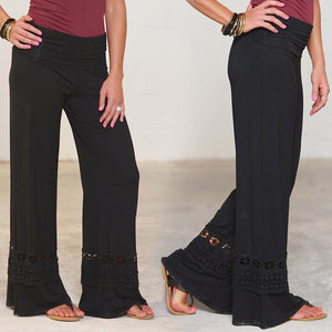Female Stylish Elastic Waist Lace Patchwork Pants