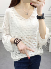 V-Neck  Hollow Out Plain  Batwing Sleeve  Three-Quarter Sleeve Sweaters Pullover