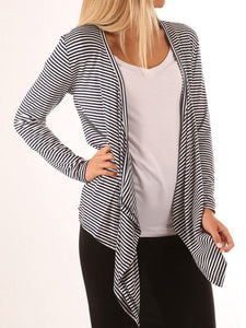 Open Front Irregular Hem Striped Cardigan