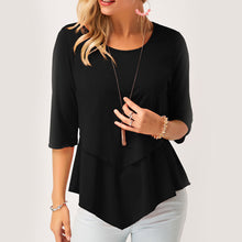 Women Stylish Irregular Design Patchwork Casual Blouse