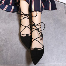 Cross Straps Pointed Flat Shoes Women's Shoes