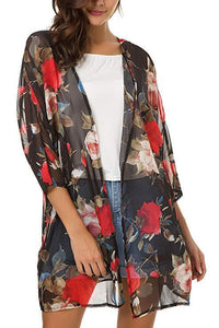 Flower Printed Open Front Cardigan
