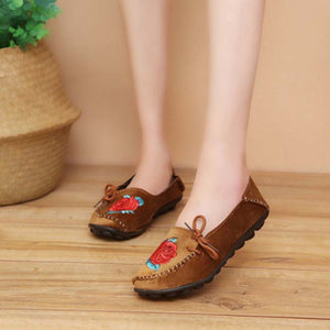 Female Autumn Floral Embroidered Casual Suede Flat & Loafers