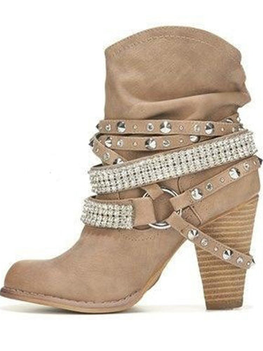 Curved Ankle Heeled Boots