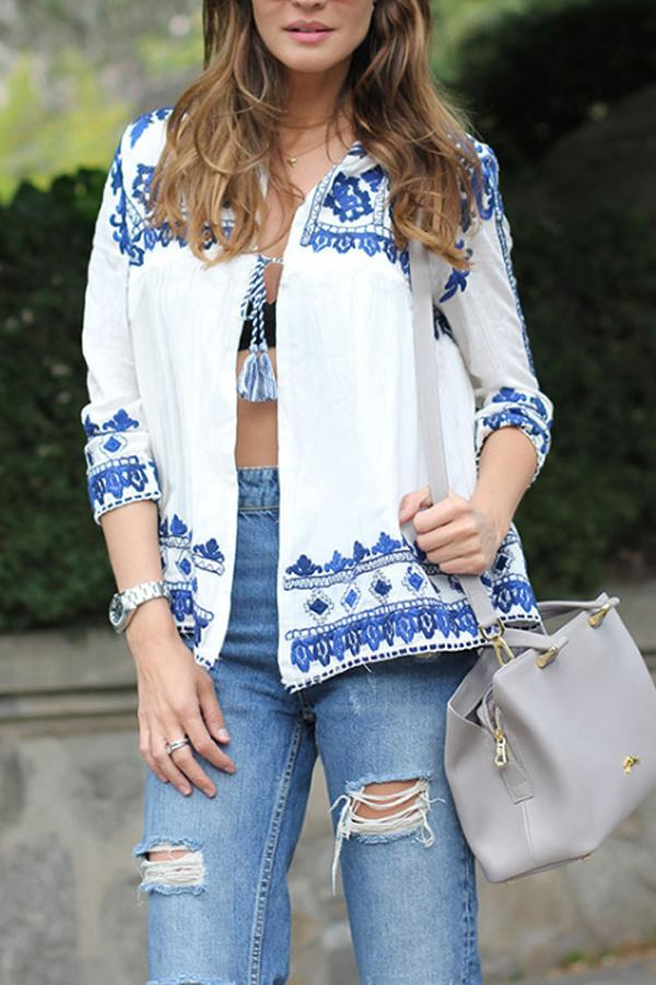 Loose Fitting  Print  Basic Cardigans