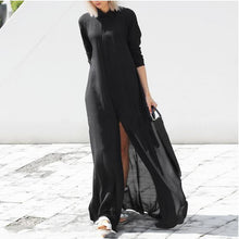 Button Down Collar Long Sleeve Maxi Dresses