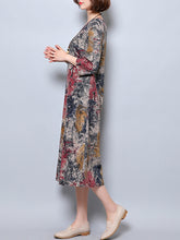 Round Neck  Ikat Maxi Dress
