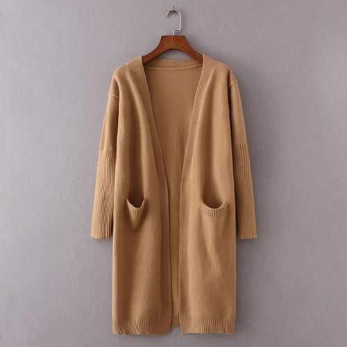 Solid Color Large Pocket Padded Cardigan