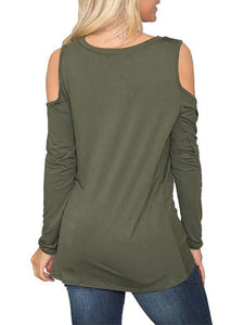 Round Neck Strapless Solid Long-Sleeved T-Shirt