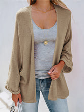 Solid Color Round Neck Knit Loose Pleated Cuff Sweater Cardigan