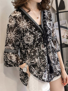 V Neck  Abstract Print Blouses