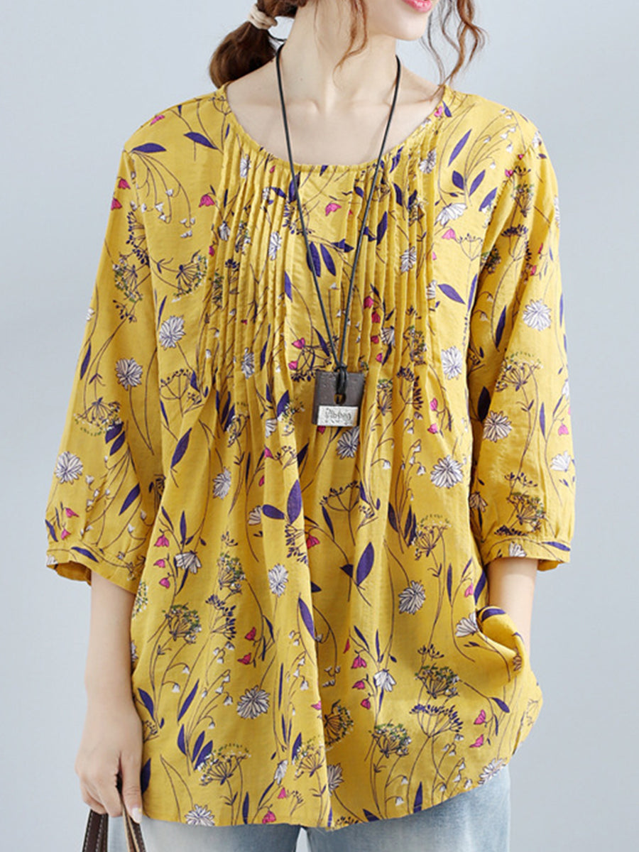 Round Neck  Patchwork  Abstract Print Blouses