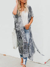 Open Front Paisley Pattern Long Cardigan