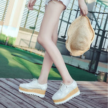 Female Star Cross Strap Muffin Heel Casual Thick Botton Flat & Loafers