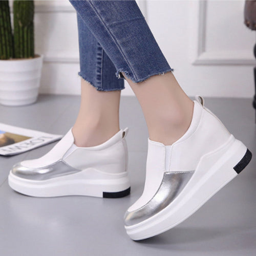 Women Heighten Color Patchwork Muffin Heel Casual Shoes