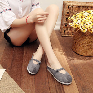 Female Elegant Folk-Customs Embroidery Comfort Cotton Flat & Loafers