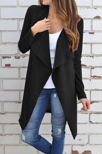 Casual  Fold Over Collar  Plain Cardigans