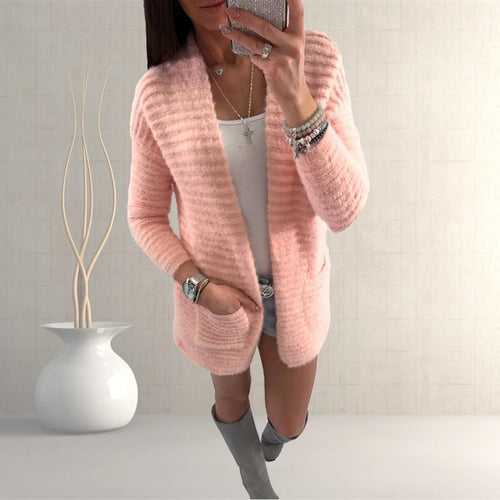 Knitted Solid Color Long Sleeve Fashion Wild Cardigan