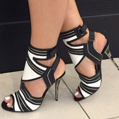 Women Stylish Black White Striped Patchwork Fish Mouth Pumps