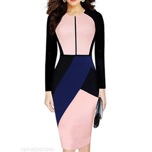 Round Neck  Colouring Bodycon Dress