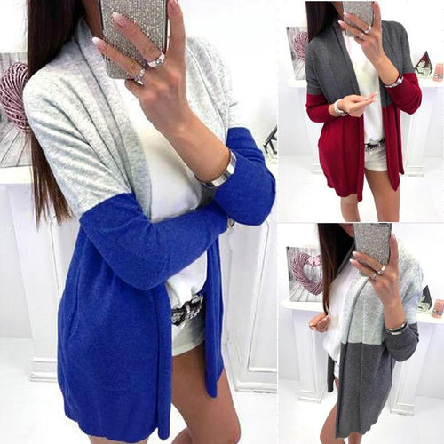 Fashion Mid-Length Long Sleeve Colorblock Cardigan