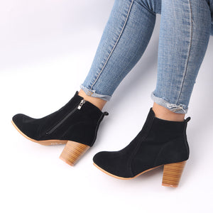 Large Size Chunky Heel Side Zipper Ankle Boots