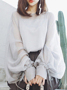 Round Neck  Bow  Plain  Lantern Sleeve Blouses
