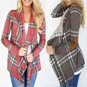Large Plaid Slim Fashion Cardigan