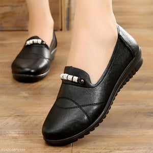Plain  Low Heeled  Round Toe  Casual Date Comfort Flats