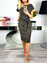 Crew Neck  Lace-Up  Belt Belt Loops Bust Darts  Plain  Roll-Up Sleeve Bodycon Dresses