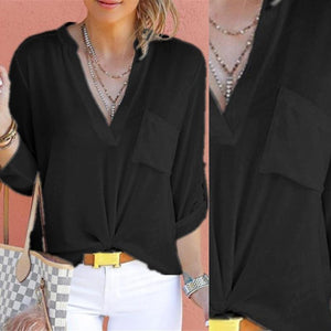 V Neck Plain Pocket Roll-Up Sleeve Blouses