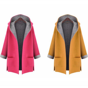 Women Autumn New Hooded Cardigan Coats Patchwork Large Size Trench Coats