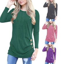 Women Autumn New Tops Solid Multi-Colored Button Printed Sleeve T-Shirts