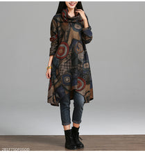 Female Autumn Elegatn Vintage Printed Patchwork Scarf Collar Casual Dresses