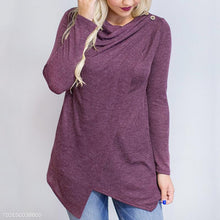 Fashion Asymmetrical Hem Button Long Sleeve T-Shirts