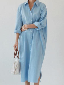 Fashion Lapel Loose Plain Shirt Maxi Dress