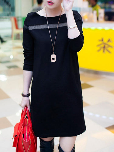 Round Neck  Patchwork Shift Dress
