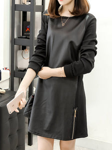 Round Neck  Patchwork Zipper  Plain Shift Dress
