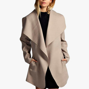 Lapel Belt Long Sleeve Pocket Trench Coat
