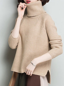 Turtle Neck  Plain Knit Pullover