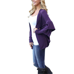 Women'S Open Front Batwing Sleeve Cardigan Dolman Draped Sweaters