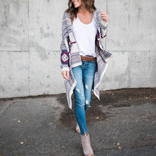 Irregular Long Sleeve Printed Knit Cardigan