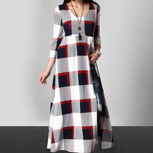 A Plaid Print Long, High Open Fork Five-Piece Maxi Dress