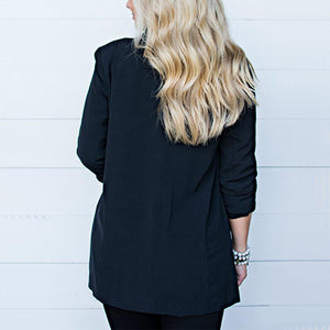 Lapel Plain Long Sleeve Fashion Blazers